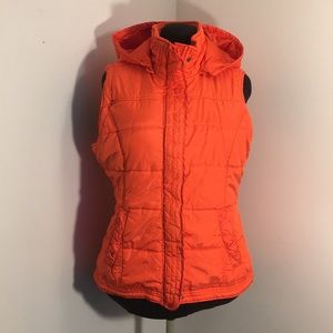 NY&CO Orange Quilted Vest with Hood